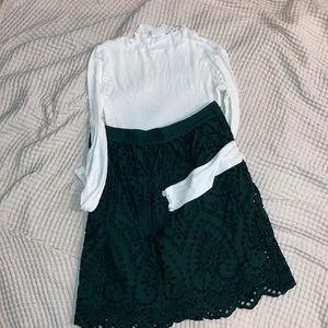 Loft Petites Forest Green A-line Lace skirt